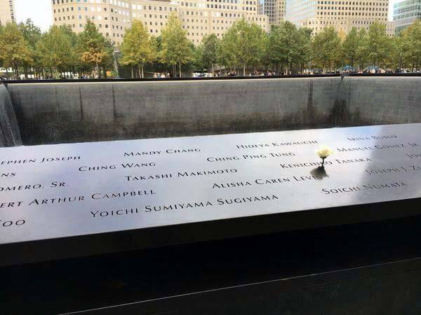 WTC・サイトのメモリアルに刻まれた日本人犠牲者 杉山陽一さんの名前