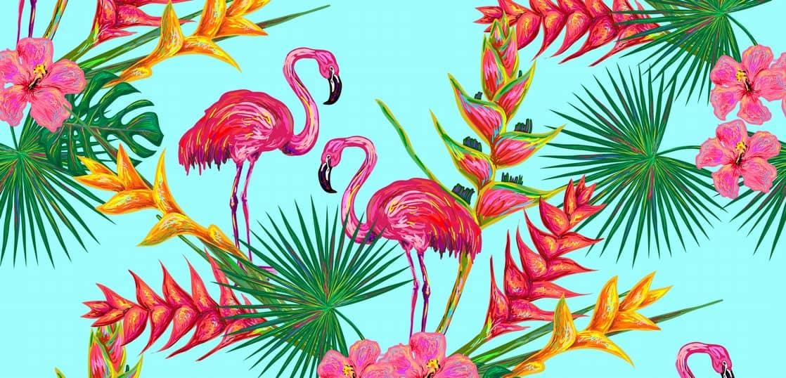 フラミンゴと花