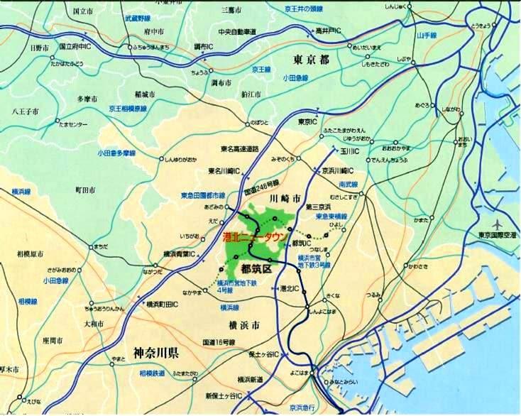 港北ニュータウン位置図