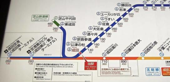 成田空港周辺の路線図
