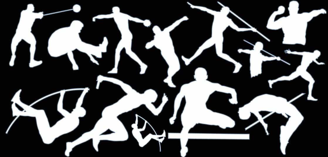 スポーツする人たちのシルエット